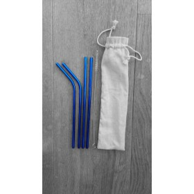 Blue Metal Straws