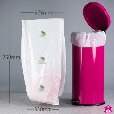 "Biodegradable Bin Liner 13x23"" wide x 30"" long x 100g"