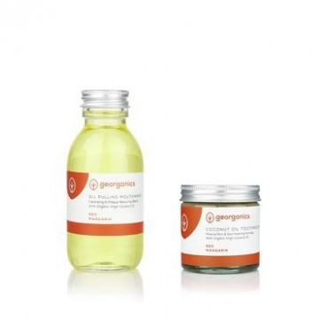 Natural Toothpaste & Oil Pulling Set Red Mandarin