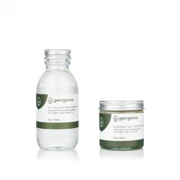 Natural Toothpaste & Oil Pulling Set Tea Tree